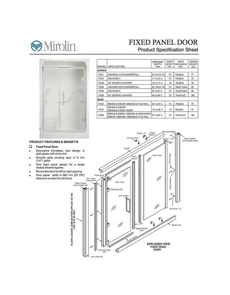 Mirolin Shower Door Parts Mirolin Fd54 Fixed Panel Pivot Door Plain Silver Home Comfort Centre