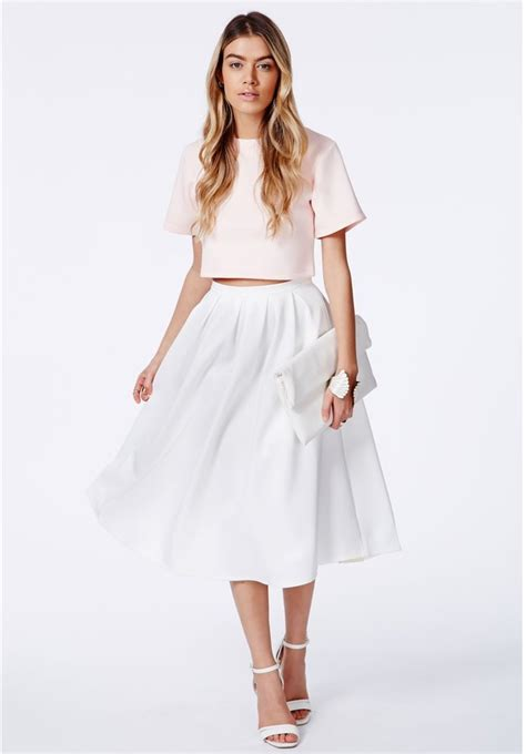 white pleated midi skirt missguided auberta white pleated