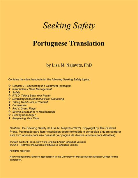 Seeking Safety Worksheets by Seeking Safety In Portuguese Client Handouts Only