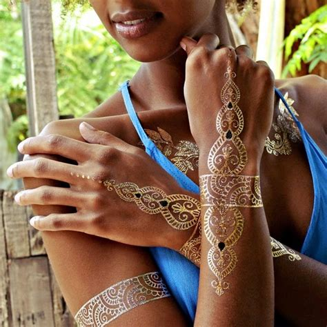 gold silver metallic jewelry flash tattoos tats tat beautiesmoothie metallic flash tattoos