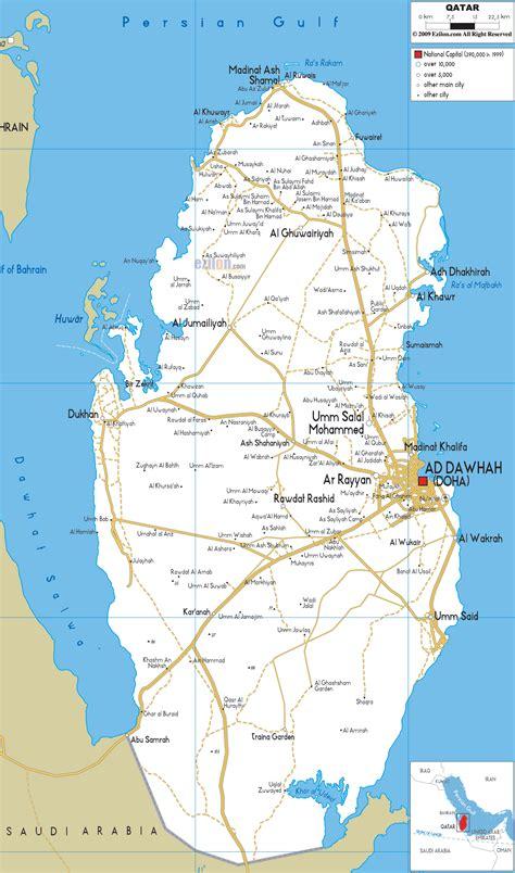 detailed clear large road map  qatar ezilon maps