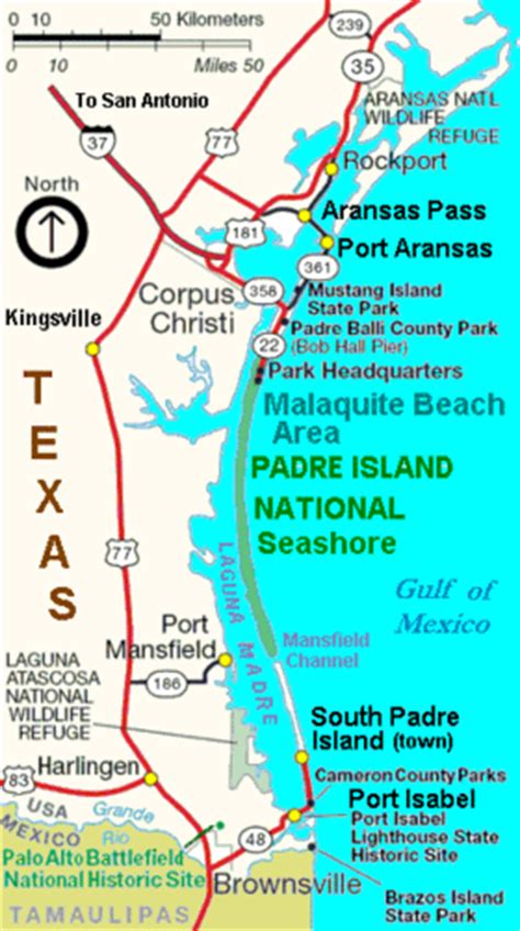 texas map south padre island padre island national seashore