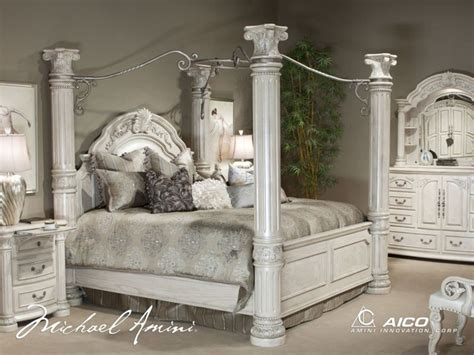 California King Canopy Bedroom Set by Aico Furniture Monte Carlo Ii 7 California King