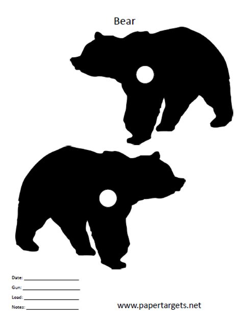 printable bear targets bear target animal shooting targets pinterest