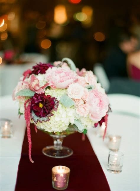 Blush, burgundy and cream centerpiece :: flowers by Blue