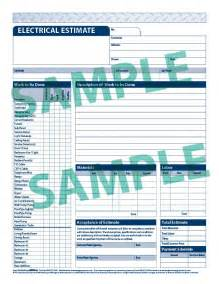 Electrical Estimate Form Electrical Estimate Template Free