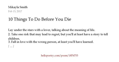 ten things you must do before you die the ultimate list books 10 things to do before you die by mikayla smith hello poetry