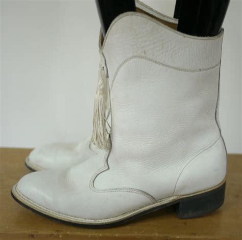 majorette boots vintage drum major majorette white leather tassel cowboy