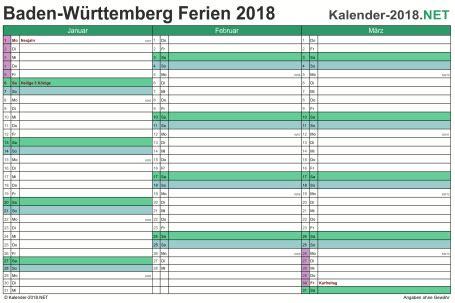 Ferienkalender 2018 Baden W Rttemberg Ferien Baden W 252 Rttemberg 2018 Ferienkalender 220 Bersicht