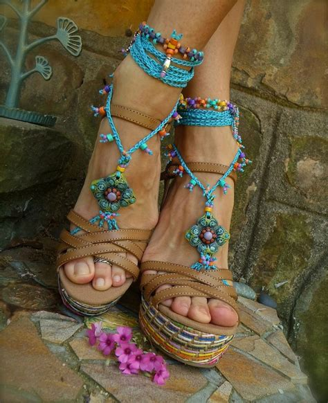blue hippie summer barefoot sandals crochet sandals beaded