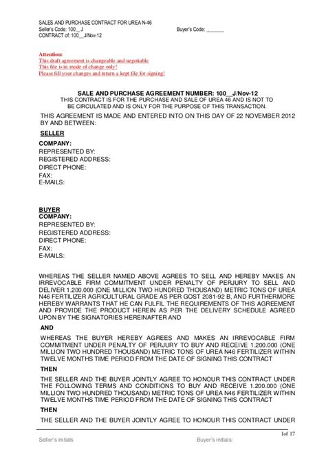 Agreement Letter Of Credit Urea Draft Contract 1200 K Mt Lc Bg Sblc 2