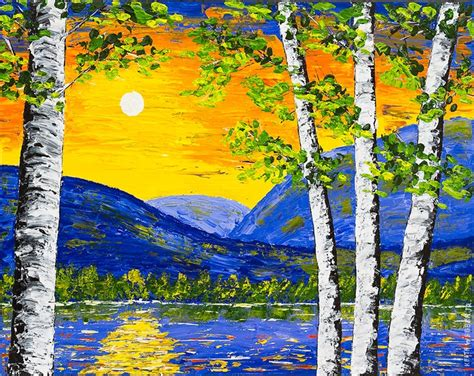 spring painting ideas original spring birch tree painting sunset over lake and