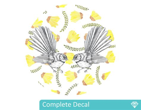 Custom Wall Mural Decals fantails with kowhai flowers mural dot your decal shop