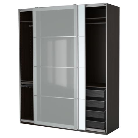 Armoire Pax by Pax Wardrobe Black Brown Auli Sekken 200x66x236 Cm