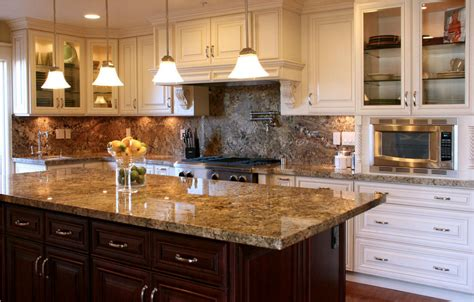 kitchens with light cabinets and dark island maple glaze