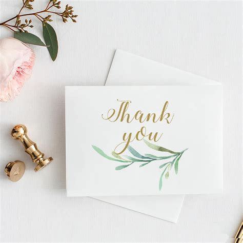 4 Bar Folded Card Template by Thank You Card With Greenery 3 5x5 Folded Size 4 Bar