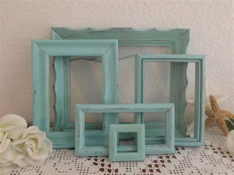 aqua turquoise blue picture frame set shabby chic beach