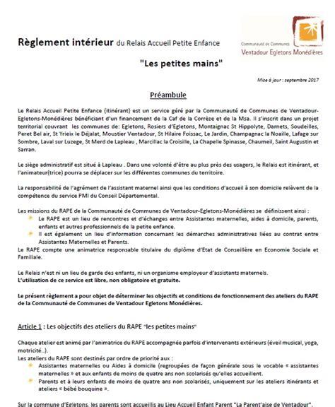 Modele Reglement Interieur 2017