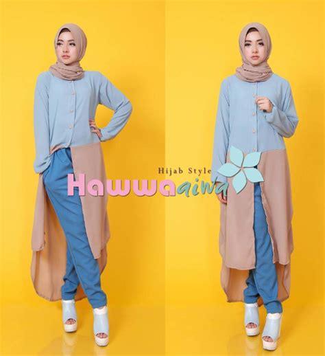 contoh gambar baju muslim modis untuk padupadan celana