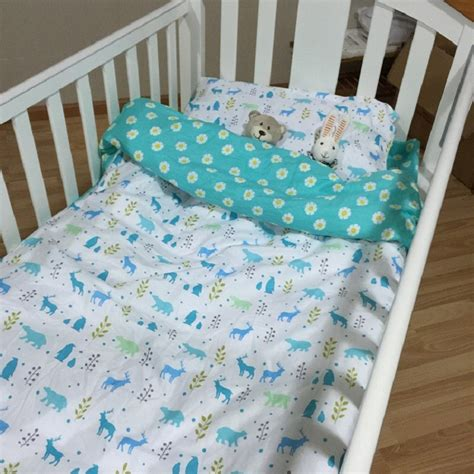 Cotton Crib Bedding 100 Cotton 3pcs Baby Crib Bedding Set Include Pillow Bed Sheet Duvet Cover Without Filling