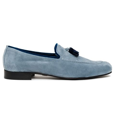 blue loafers alberto suede tassel loafers in blue for lyst