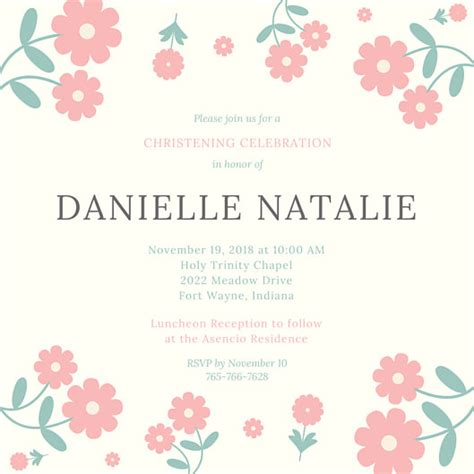 christening invitation templates canva