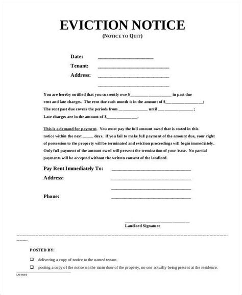 Section 25 Notice Template by Sle Eviction Notice Template 37 Free Documents In