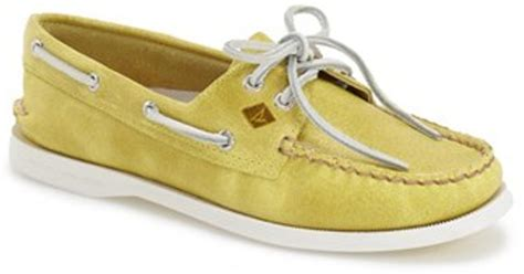 yellow sperry boat shoes sperry top sider authentic original boat shoe in yellow