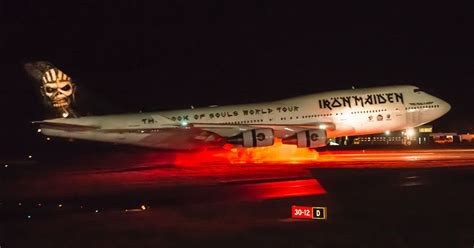 one inside a novel iron maiden s ed force one has landed in style at cardiff airport wales online