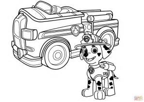 firetruck coloring page paw patrol marshall with truck coloring page free