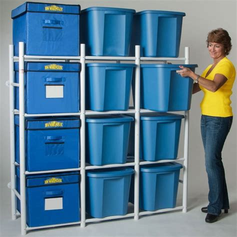 storage totes neatly organized   garage
