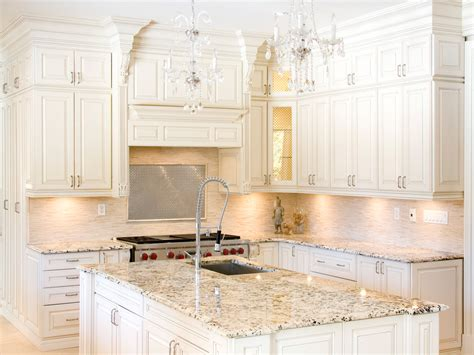 fantastic white granite with white kitchen cabinet