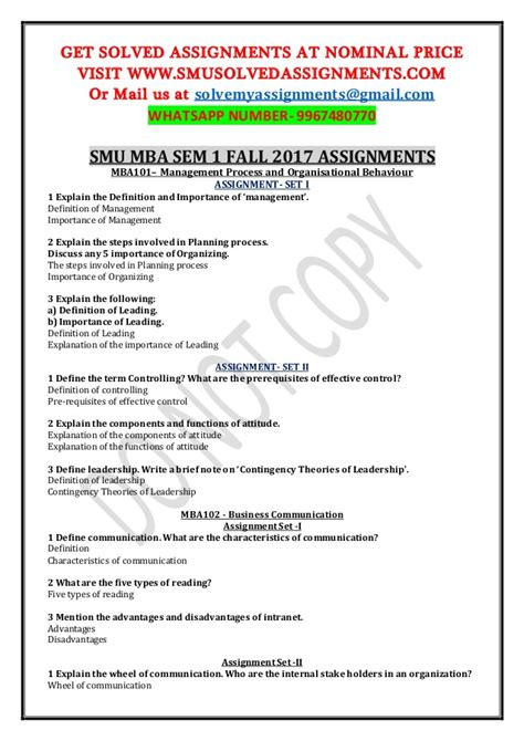 Fall Mba Preview Smu by Smu Mba Sem 1 Fall 2017 Assignments Contact Us