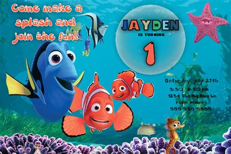 printable nemo birthday invitations finding nemo birthday invitation printable file diy
