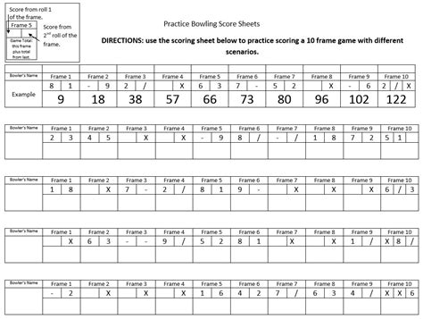 bowling score sheet 9 free sle bowling score sheet templates printable