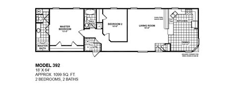 model bedroom bath floor plans bestofhouse net 32755 model 392 18x64 2bedroom 2bath oak creek mobile home