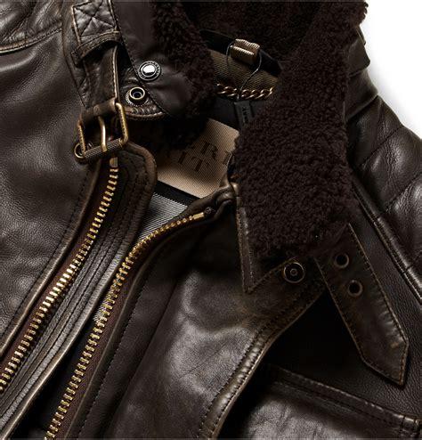 mens tan motorcycle lyst burberry brit leather motorcycle jacket in brown