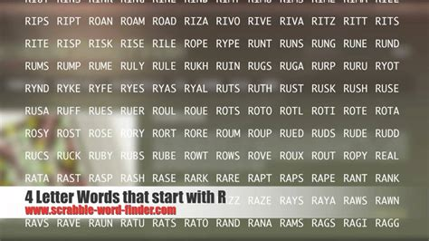 4 letter words that start with r