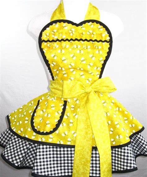 Sewing Bee Apron | yellow bumble bee apron with gingham by sjcnace4 aprons