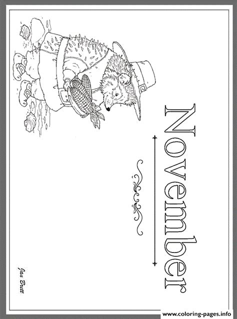 coloring page for november months of the year november by jan brett coloring pages