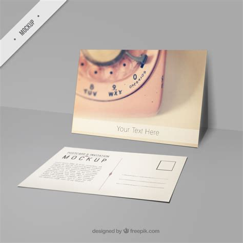 cute mockup postcard with a picture of pink phone psd file