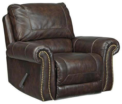 bristan traditional leather match rocker recliner  rolled arms nailhead trim belfort