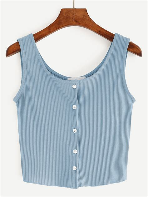 button top button front ribbed tank top shein sheinside