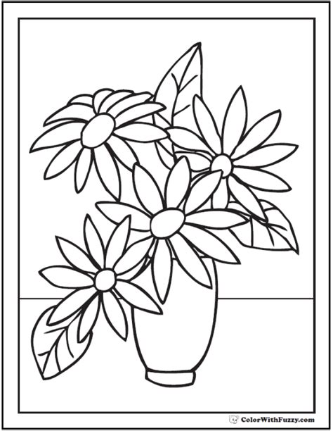 Flowers In Vase Coloring Pages by Vase Flower Coloring Page Pencil And In Color Vase Flower Coloring Page