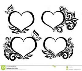 Beautiful Black And White Designs Set Of Beautiful Black And White Symbol Of A Heart With