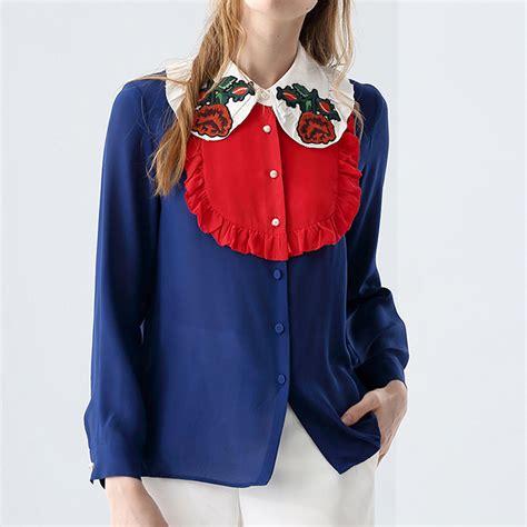 ecombird 2017 fashion runway blouse high quality s pan collar sleeve