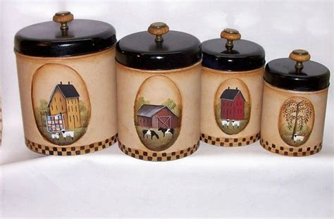 primitive kitchen canister sets painted vintage metal canister set primitive by