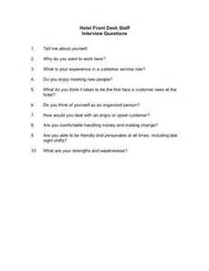 Hotel Front Desk Interview Questions Hotel Front Desk Staff Interview Questions Template