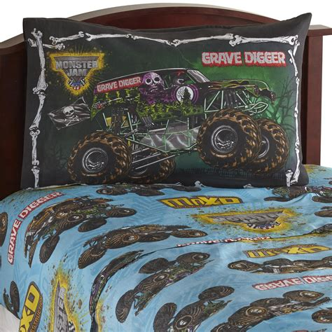 grave digger truck fabric jam boy s sheet set trucks home bed