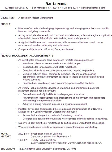Resume Sle For Project Manager by Functional Resume Exle Project Manager